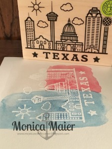 TX watercolor card close up