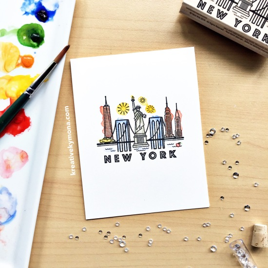 Watercoloring Hero Arts New York Stamp