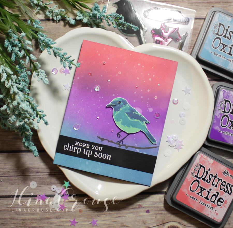 Hero Arts Clear Stamps Hope You Chirp Up Soon Colour Layering Bird /& Branch