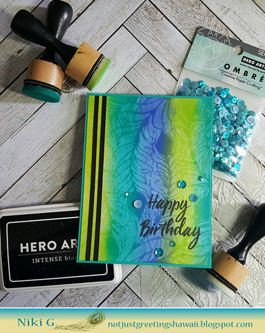 Hero Arts Peacock Feather Stencil and Distress Stripes