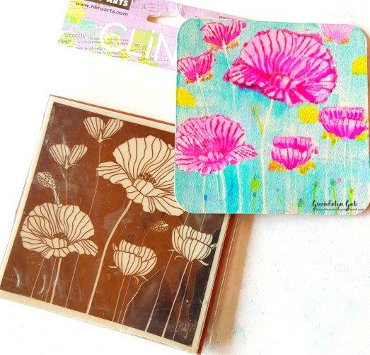 Poppy coaster stamp